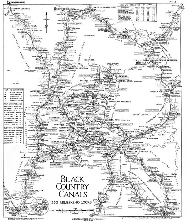 Lockmaster Map No #12 Black Country Canals