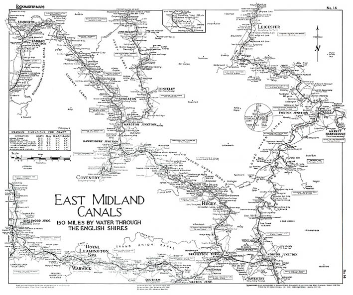 Lockmaster Map No #14 East Midlands Canal