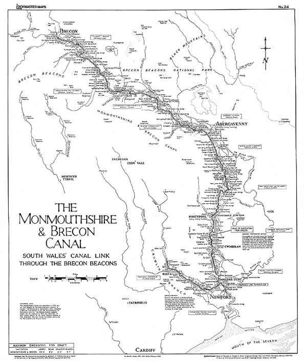 Lockmaster Map No #24 Monmouthshire and Brecon Canal