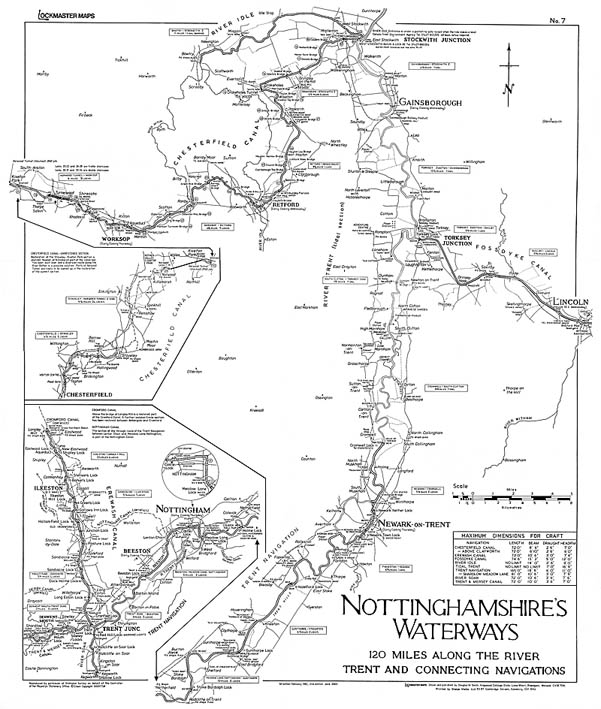 Lockmaster Map No #7 Nottinghamshire Waterways